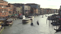 Timelapse aerial view Venice Grand Canal gondola boat traffic landmark iconic  Stock Footage