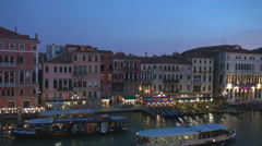 Aerial view Venice boat line station cruise sailing Venice cityscape twilight  Stock Footage