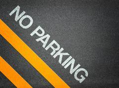 no parking text writing road asphalt - stock illustration