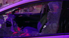 Car with broken window Stock Footage