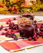 Cranberry sauce with cranberries and apple relish Stock Photos