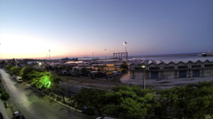 Time lapse sunrise port, harbor, sky and traffic Stock Footage