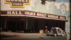 1369 - early Las Vegas street scene - vintage film home movie Stock Footage
