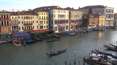 Timelapse aerial view Venice iconic place romantic travel restaurant gondola day Stock Footage