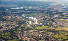 aerial of grosskrotzenburg power station, main river, germany, hessen - stock photo