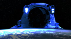 0193 Artistic Astronaut Spacewalk by Earth, HD Stock Footage