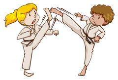 Two martial arts experts Stock Illustration
