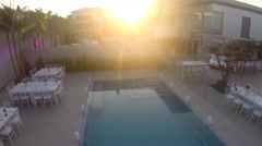 Sunset Luxury Home, Real Estate swimming pool view Stock Footage