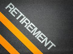 retirement text writing road asphalt - stock illustration