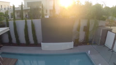 Sunset Luxury Home, Real Estate Event wedding swimming pool view Stock Footage