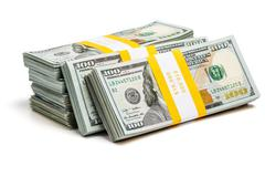 Bundles of 100 us dollars 2013 edition bills Stock Photos