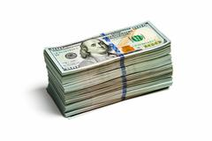 stack of new 100 us dollars 2013 edition banknote - stock photo