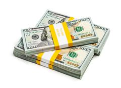 bundle of 100 us dollars 2013 edition banknotes - stock photo