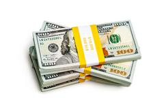 Stock Photo of bundle of 100 us dollars 2013 edition banknotes