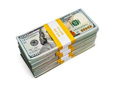Bundles of 100 us dollars 2013 edition banknotes Stock Photos