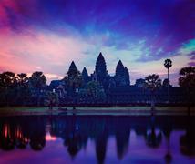 angkor wat - famous cambodian landmark on sunrise - stock photo