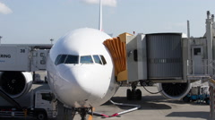 Plane nose airport flight airplane travel Stock Footage