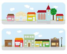 village main street neighborhood vector illustration - stock illustration
