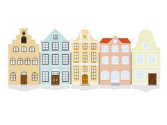 historic town house icon set - stock illustration