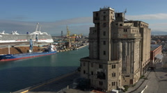 Livorno Italy Port cargo cruise ships silo 4K 003 Stock Footage