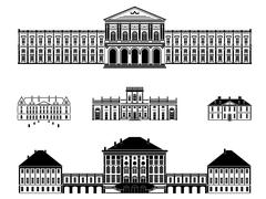 castles, palaces and mansions vector illustration - stock illustration