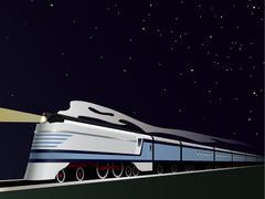 night train retro style vector illustration - stock illustration