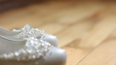 White female wedding shoes. dolly shot Stock Footage