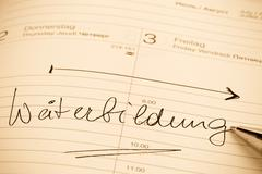 entry to the calendar training - stock photo