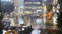 Commutors rush, Tokyo Typhoon approaching TL 4K Stock Footage