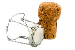 champagne corks and clasp - stock photo
