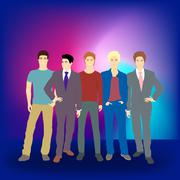 Well dress young men Stock Illustration