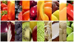 Close up of diverse fruits and vegetables, montage Stock Footage