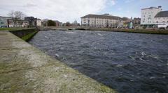 Coastal City Bridge in Ireland Stock Footage