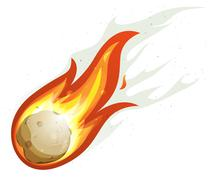 Cartoon fireball and comet Piirros