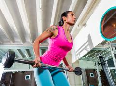barbell bent over row supine grip woman workout - stock photo