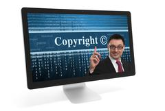 copyright message on a screen - stock photo