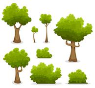 forest trees, hedges and bush set - stock illustration