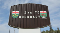 Border sign between Manitoba and Ontario. Stock Footage