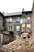 Abandoned, decayed and partly demolished building in bialogard, poland. Stock Photos