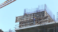 Labor working in construction site Stock Footage