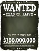 Stock Illustration of wanted vintage western poster on chalkboard