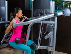 lat lateral dorsal pulldown machine upper back - stock photo