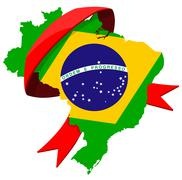 brazil map with ribbon - stock illustration