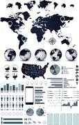 World map and globe infographics Stock Illustration