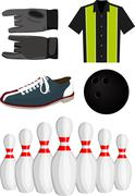 bowling set - stock illustration