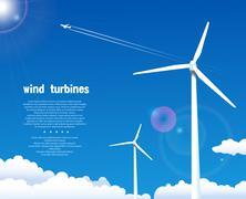 wind turbines over blue sky - stock illustration