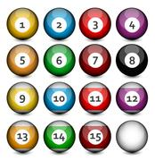 set of billiard balls - stock illustration