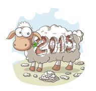Year Of the Sheep 2015 Vector Cartoon - stock illustration