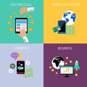 Internet business and payment concept icons Stock Illustration