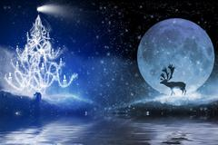Winter night with christmas tree and reindeer in the moonlight Stock Illustration